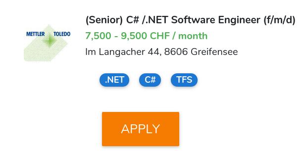 Senior) C# / NET Software Engineer (f/m/d) @ METTLER TOLEDO 🏆